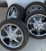 """For sale 4 Rims & Tires 22"""" 5 lugs 5x139.7, fits any 5lug Toyota full-size trucks (850)326-3503 ... in Fort Rucker, Alabama"""