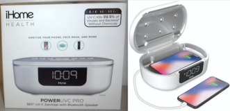New! iHome Health PowerUVC Pro SANITIZER Bluetooth Speaker w/ Alarm Clock & Charger in Bolingbrook, Illinois