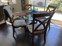 Glass Top Dining Table in Solid Wood with 4 Chairs in Fort Lewis, Washington
