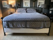 California King Bed Frame with Rails & Box Spring in Fort Lewis, Washington
