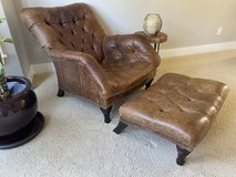 Distressed Leather Chair and Ottoman in Fort Lewis, Washington