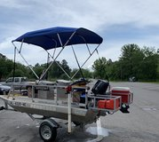 2008 12ft Custom Pondtoon Boat W/ New Tohatsu 6HP Only 7.4 Hrs Located Enterprise $7500 in Fort Rucker, Alabama