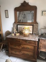 Beautiful antique dresser with marble top and ornamental wood mirror in Wiesbaden, GE