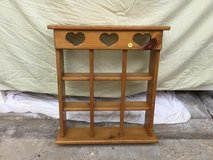 Wooden hanging shelf with hearts in Westmont, Illinois