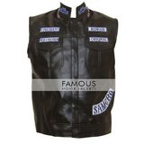 Jackson Jax Teller Sons Of Anarchy Leather Patches Vest in Fort Drum, New York