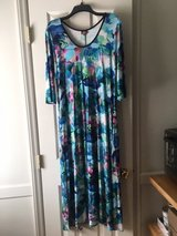 Floral/Multicolored ankle-length dress with 3/4 sleeves by Salaam Clothing in Cary, North Carolina