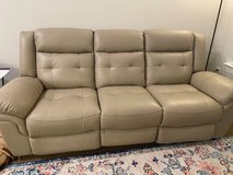 Ventoso Sand Leather Power Reclining Sofa in Lackland AFB, Texas