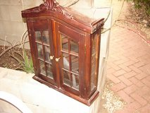 Solid Brown Old Handcarved Wood Curio Cabinet in Yucca Valley, California
