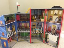 Boy dollhouse: police station and firehouse in St. Charles, Illinois