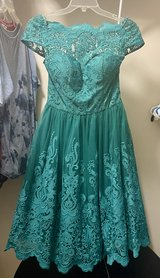Soft teal cocktail dress - ChiChi's of London, size 8, NEVER WORN w/ tags in Plainfield, Illinois