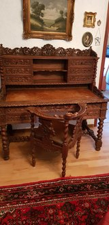 Anique Flemish Baroque 1870 Office Set Desk and Chair in Ramstein, Germany