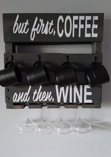 """Custom Wooden Pallet Kitchen Cup/Wine Glass Holder, """"but first Coffee"""" """"and then WINE"""" in Melbourne, Florida"""