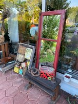 antique window with mirror and original hardware in Spangdahlem, Germany
