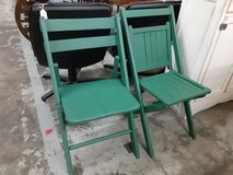 Vintage wooden folding chairs in Camp Lejeune, North Carolina