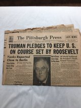 Historic. The Pittsburgh Press newspaper April 13,1945 late news in Kingwood, Texas
