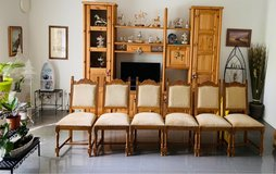 6 solid oak chairs in Lackland AFB, Texas