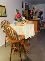Solid Oak Bar Table and Three Stools in Lackland AFB, Texas