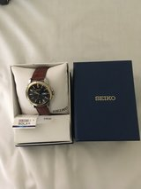 Seiko Men's Two Tone Stainless Steel Leather Solar Watch - Model SNE102 -New Price in St. Charles, Illinois