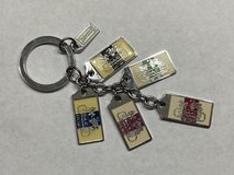 Coach keychain silver tone with enamel horse & carriage tags in Bolingbrook, Illinois