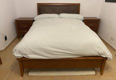Lovely wood and leather bedroom set with mirror in Ramstein, Germany
