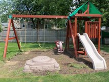 Cedar Wooden Play/Swing set With Fort, Slide and Sandbox in Bolingbrook, Illinois