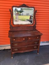 Solid Oak Dresser with Beveled Mirror in Cherry Point, North Carolina
