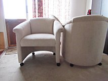 Pair of Accent Chairs With Casters for Den or Living Room in Yucca Valley, California