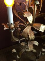 French Floral Toleware Midcentury Lamp in Alamogordo, New Mexico