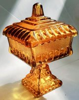 Vintage Amber Glass Dish with Lid in Joliet, Illinois