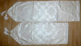 Set of 2 Table Runners ~White on Ivory w/tassels in Bolingbrook, Illinois