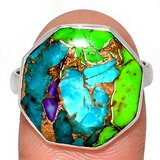 New - Large Multi Copper Turquoise 925 Sterling Silver Ring - Size 9.5 in Alamogordo, New Mexico