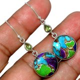 New - Multi Copper Turquoise & Peridot 925 Sterling Silver Earrings in Alamogordo, New Mexico
