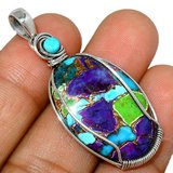 New - Multi Copper Turquoise & Blue Mohave Turquoise 925 Sterling Silver Pendant (Can include a ... in Alamogordo, New Mexico