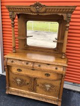 Antique Qtr Oak Sideboard/Buffet W/Beveled Mirror top in Cherry Point, North Carolina