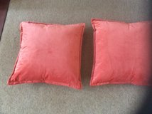 2 LOVELY CORAL COLOURED CUSHIONS in Lakenheath, UK