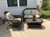 PATIO SET -  LOVESEAT - CHAIR - COFFEE TABLE - LIKE NEW in Plainfield, Illinois