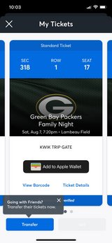 Green Bay packers  Aug 7 in Plainfield, Illinois