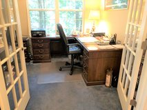 KIMBALL L-SHAPE OFFICE DESK + CHAIR + FILE CABINET + BOOK SHELF in Plainfield, Illinois