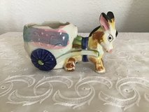 Granny Chic Vintage Donkey statue with cart planter in Joliet, Illinois