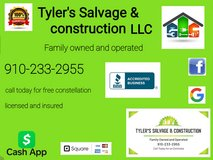 Tyler Salvage in construction in Camp Lejeune, North Carolina