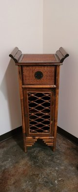 Winged Wicker & Bamboo Asian Accent Cabinet in Glendale Heights, Illinois