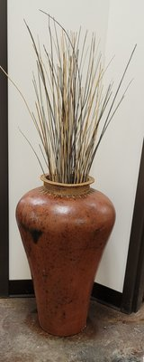 Large Clay Vase with Wicker Rim in Glendale Heights, Illinois