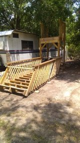 Mobile home entrance stairs in Beaufort, South Carolina