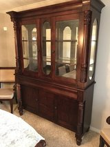 Mahogany table with leaf, 8 chairs and matching china cabinet in Baytown, Texas
