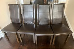 Brown Leather Cherry Dining Chairs(Set of 4) in Bellaire, Texas