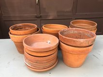 Clay pots and saucers in Glendale Heights, Illinois