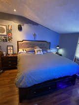 kings size bed with 2 drawers & 2 nightstands solid wood in Fort Campbell, Kentucky