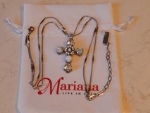 Mariana Chunky Cross Pendant with Center Flower in White and Clear Crystals in Joliet, Illinois
