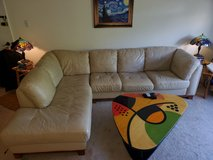 Leather Sofa, L shaped sectional, beige in Fort Belvoir, Virginia