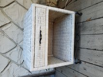 White rattan end table with drawer in Beaufort, South Carolina